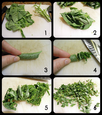 Step by step picture tutorial for how to make a basil chiffonade and how to chop basil