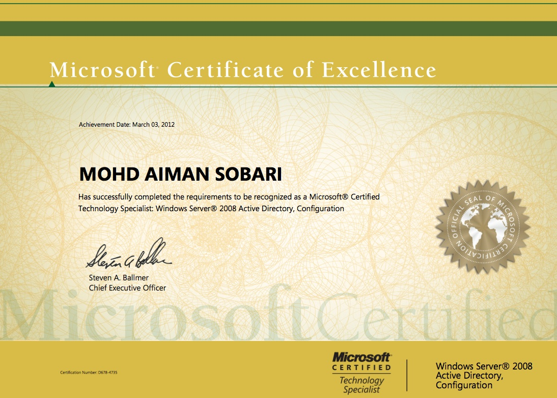 Microsoft certificate of excellence 1st blogs microsoft certificate of excellence server 2008 xflitez Images