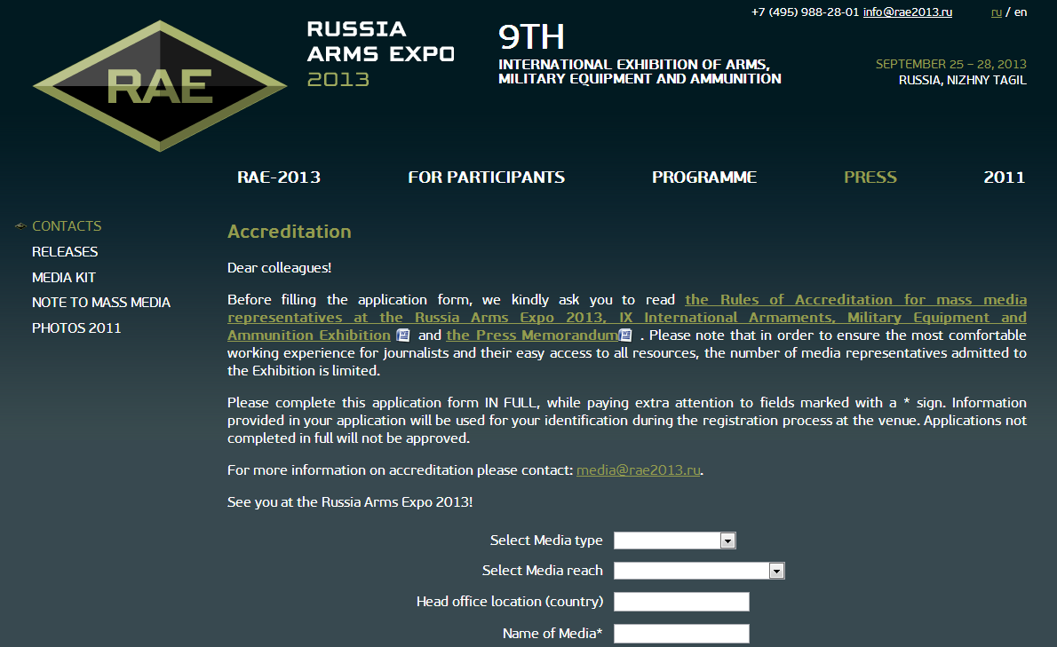 Russia Arms Expo : The Accreditation for IX International ...