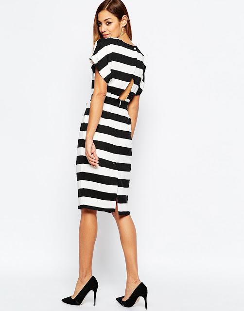 black white stripe dress open back, midi pencil dress striped,