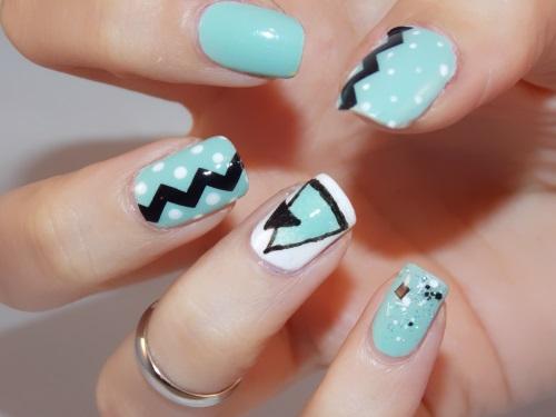 nail art mint dots blog beauté psychosexy