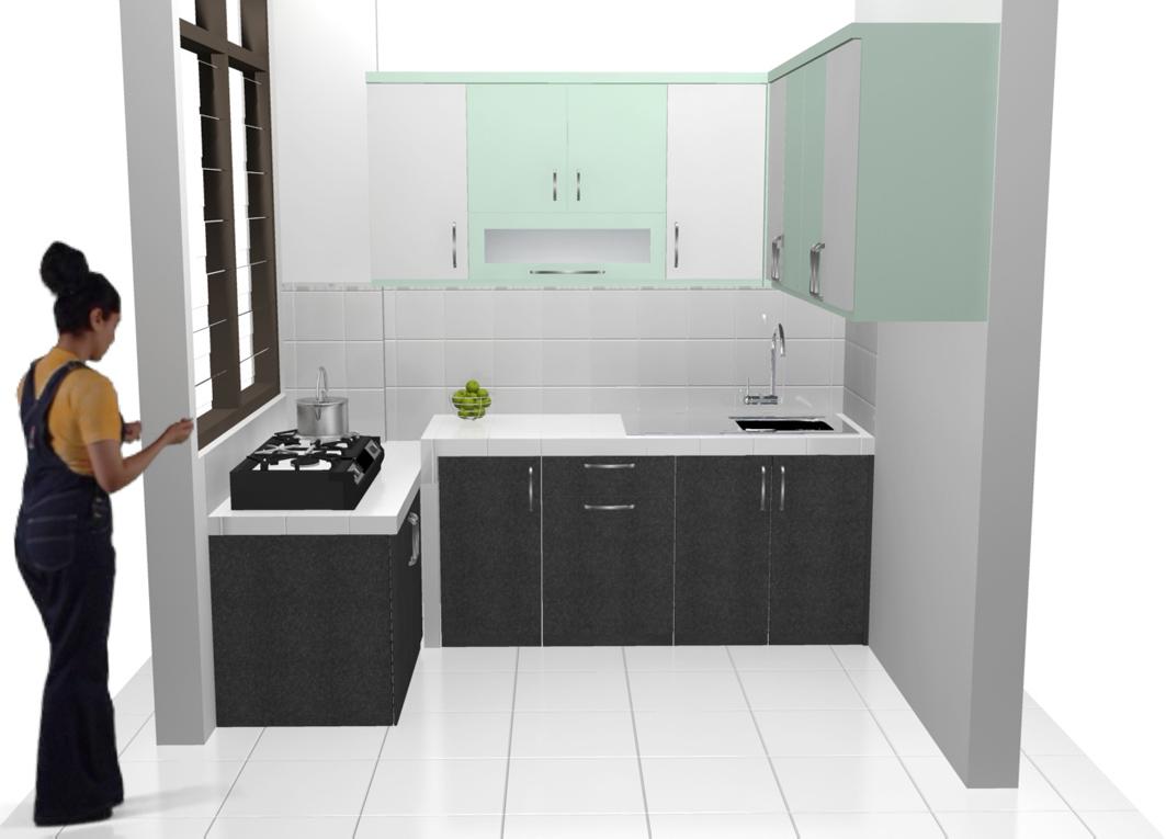Kitchen Set Minimalis Bentuk U Finishing Hpl Corak Granit Dan Rak