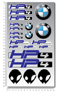 HP4 bmw motorrad motorcycle decal set sheet 21 high quality stickers s1000rr hp4