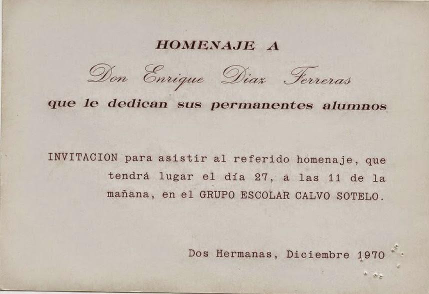 INVITACIÓN HOMENAJE A D.ENRIQUE