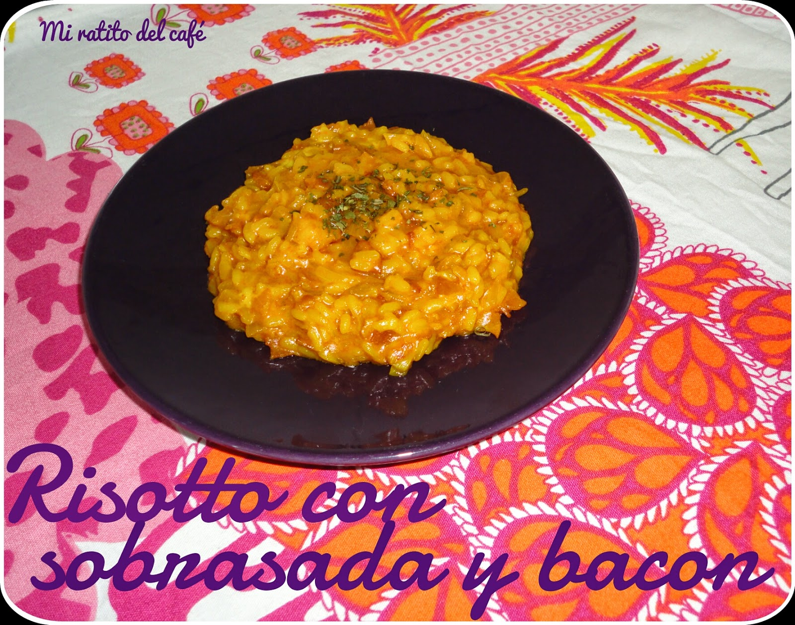 Risotto con sobrasada y bacon
