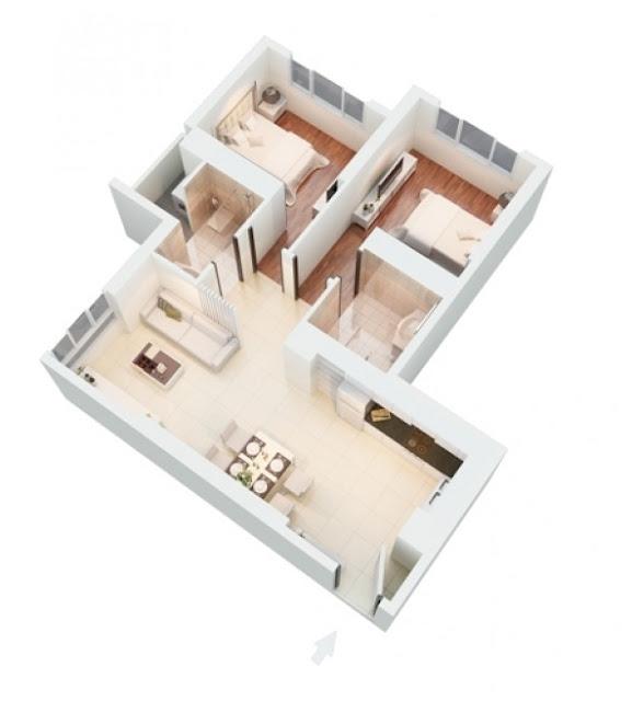Mặt bằng căn hộ The Park Residence Daisy 74 m2