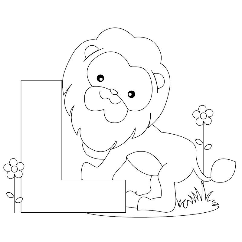 Animal Alphabet - Letter L Coloring title=