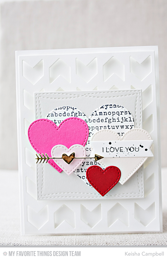 Loving Hearts Card by Keisha Campbell featuring the Lisa Johnson Designs All Heart stamp set, Typewriter Text Background stamp, and the Stitched Heart STAX, Pierced Heart STAX, Wonky Stitched Square STAX, Tag Builder Blueprints 5, Chunky Chevron Cover-Up Die-namics #mftstamps
