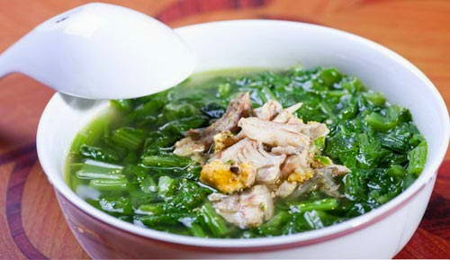 Chinese Flowering Cabbage with Adabas Soup - Canh cải xanh cá rô