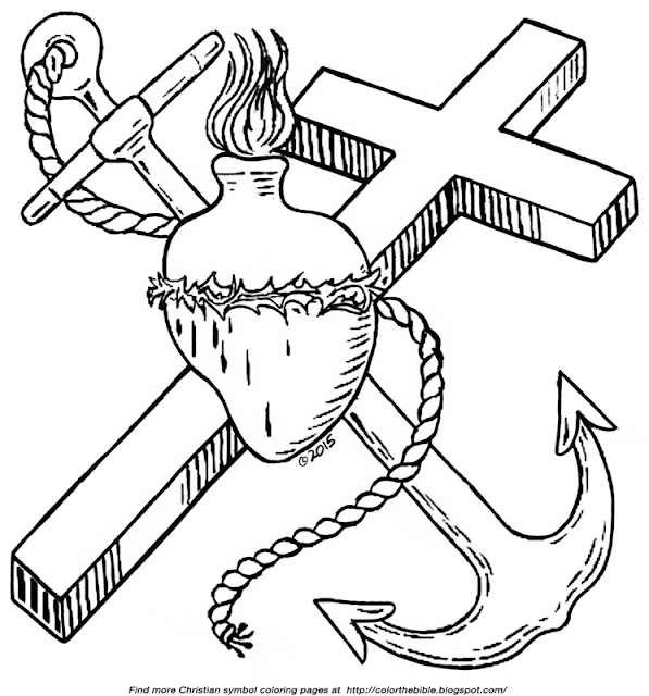 Sacred heart anchor and cross for coloring color the bible for Hearts and crosses coloring pages