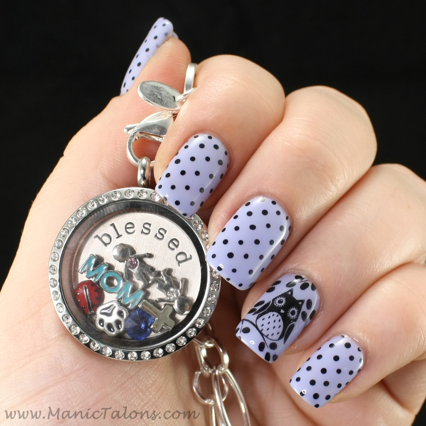 Dots and Owls Nail Art