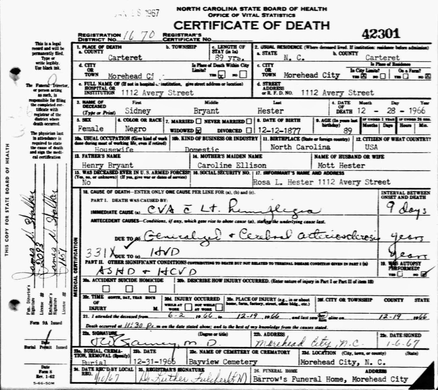 Beautiful gallery of north carolina death certificates business 52 ancestors 2015 edition 16 sidney bryant hester xflitez Choice Image