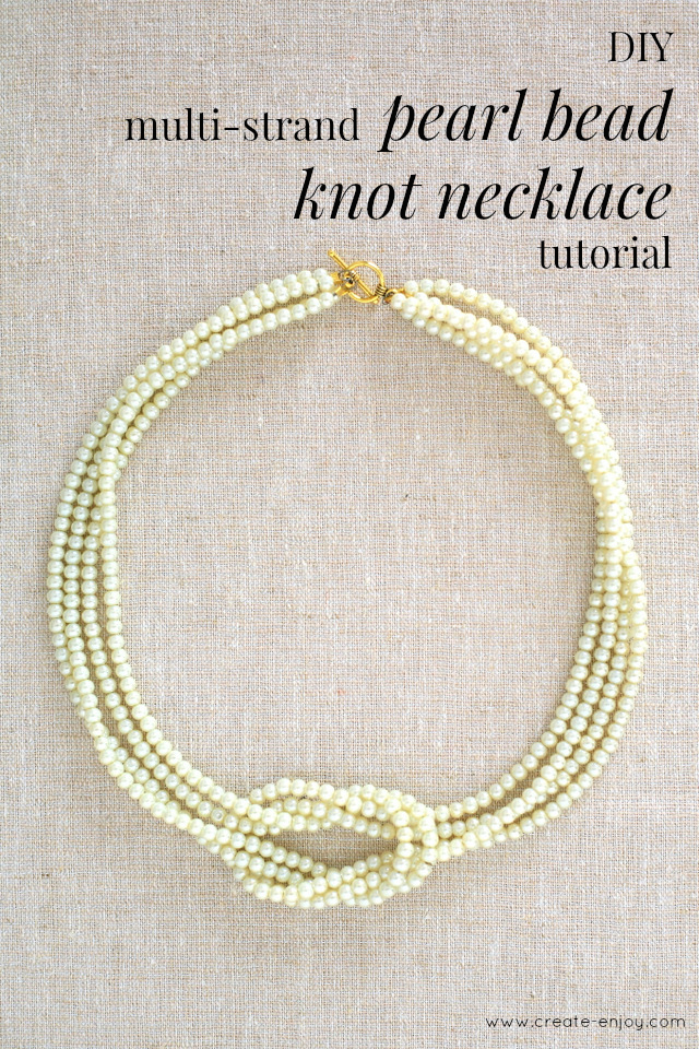 A very pretty DIY! Pearl bead square knot necklace tutorial ...