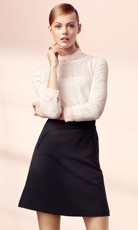 falda negra y jersey de punto fino mujer H&M