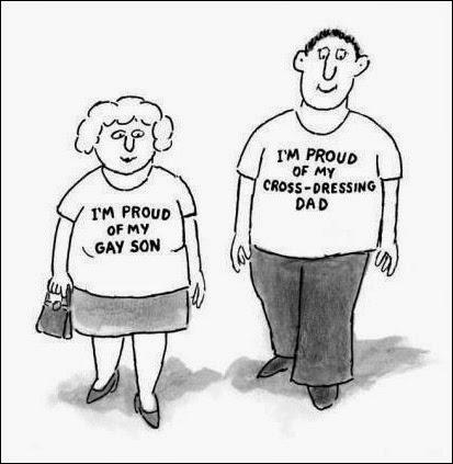 Jestem dumna z mojego syna geja. - Jestem dumny z mojego cross-dresing taty.