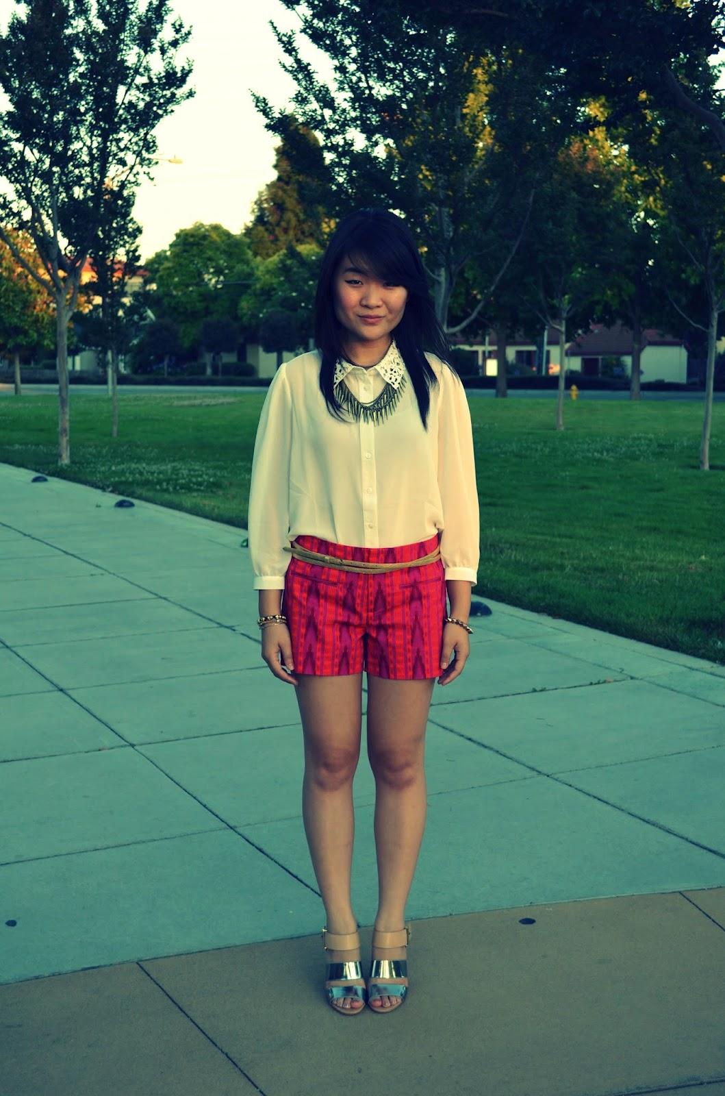 sam edelman yelena, forever 21, gap, lace collar, blouse, shorts, pink shorts, aztec print, aztec print shorts, aztec shorts