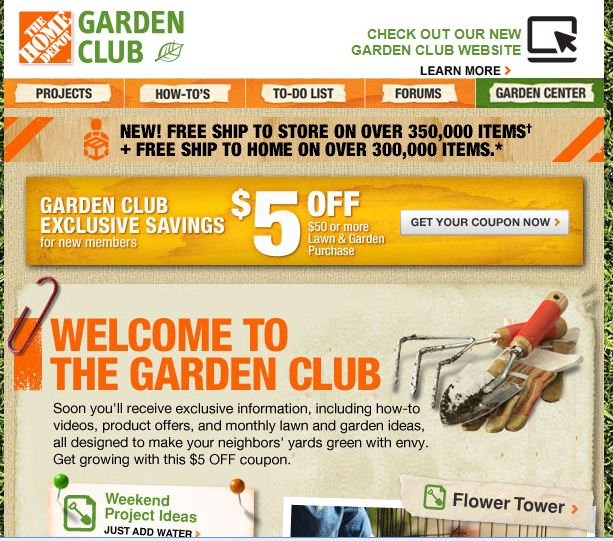 i visited the garden club on the home depots website to get some expert advice inspiration and i got an awesome coupon just for signing up as part of the - Home Gardening Club