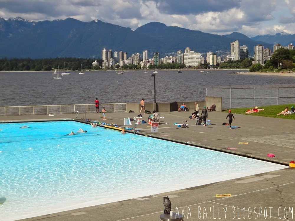 Kitsilano Public Pool and view of downtown Vancouver