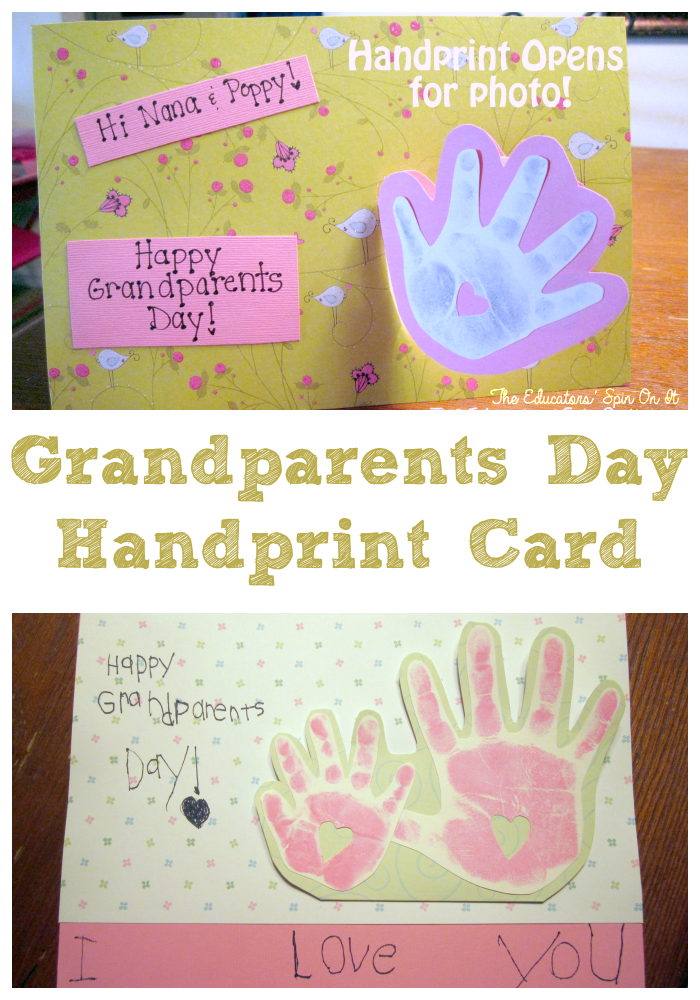 Handprint Card for Grandparents Day from The Educators' Spin On It