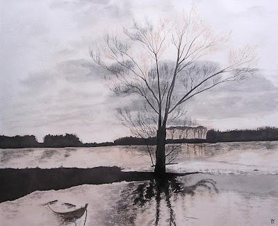 aquarelle barque sur la Loire