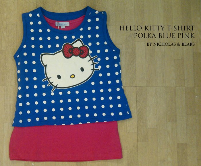Hello kitty t shirt polka blue pink for Hello kitty t shirt design