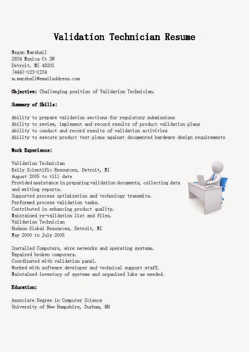 resume samples  validation technician resume sample