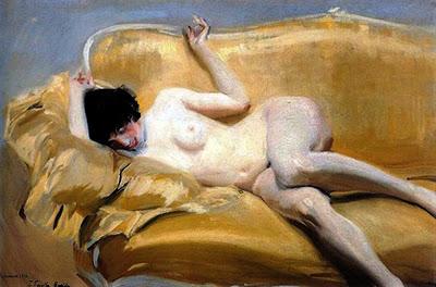 Desnudo en el diván amarillo, Joaquín Sorolla Bastida