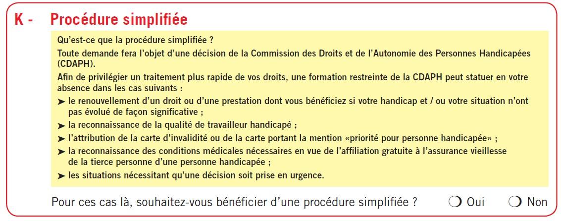 La partie K : procédure simplifiée