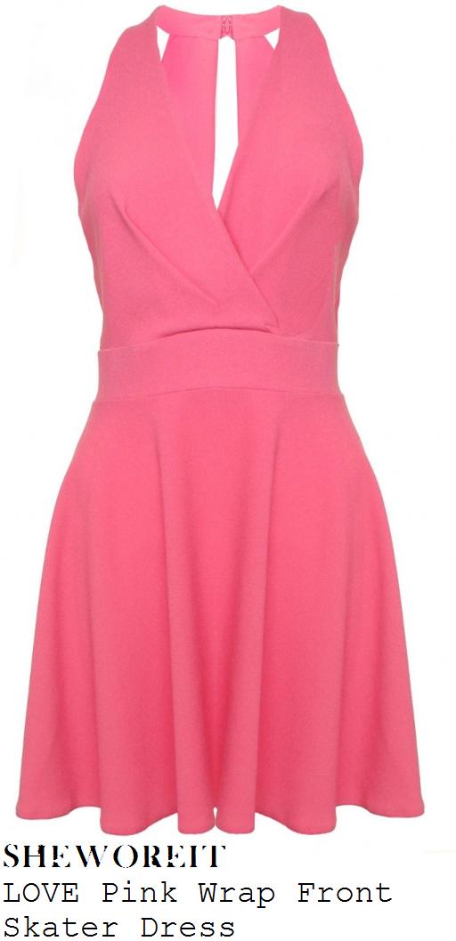 ferne-mccann-coral-pink-sleeveless-v-neck-wrap-front-skater-dress-singles-night-kosho-bar