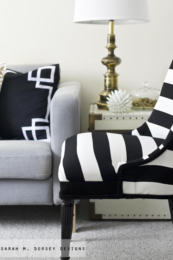 sarah m dorsey designs black and white stripe chair. Black Bedroom Furniture Sets. Home Design Ideas