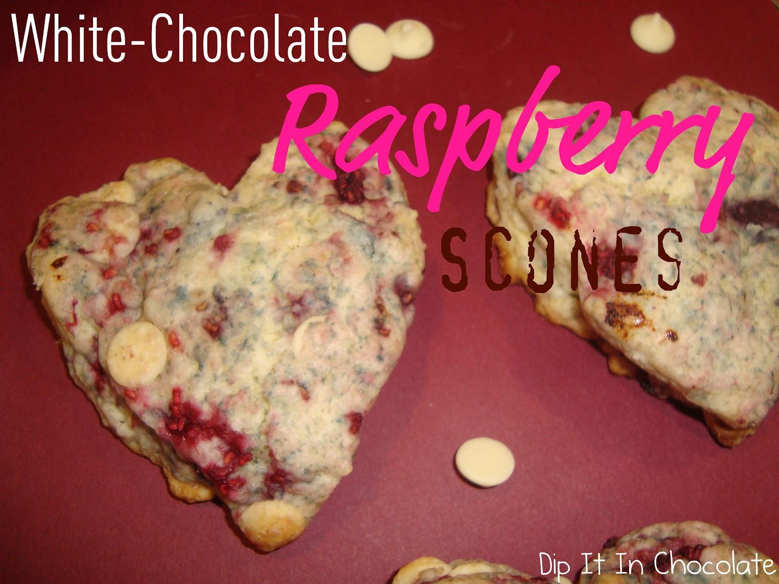 White Chocolate Raspberry Scones ~ Dip it in Chocolate