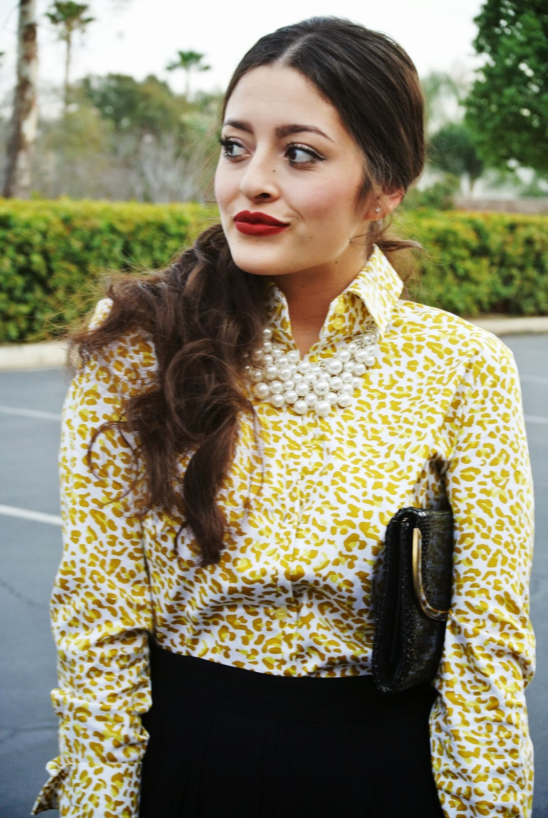 leopard collar blouse