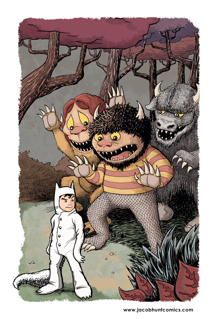 Max and the gang from Where the Wild Things Are color illustration