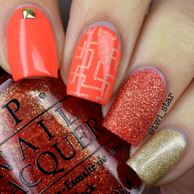 OPI Can't Afjord Not To and Jinx stamping nail art