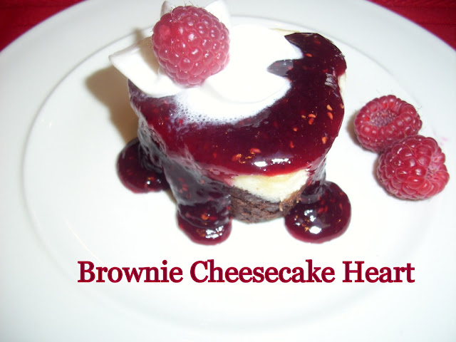 Flavors by Four: Brownie Cheesecake Heart w/Raspberry Sauce