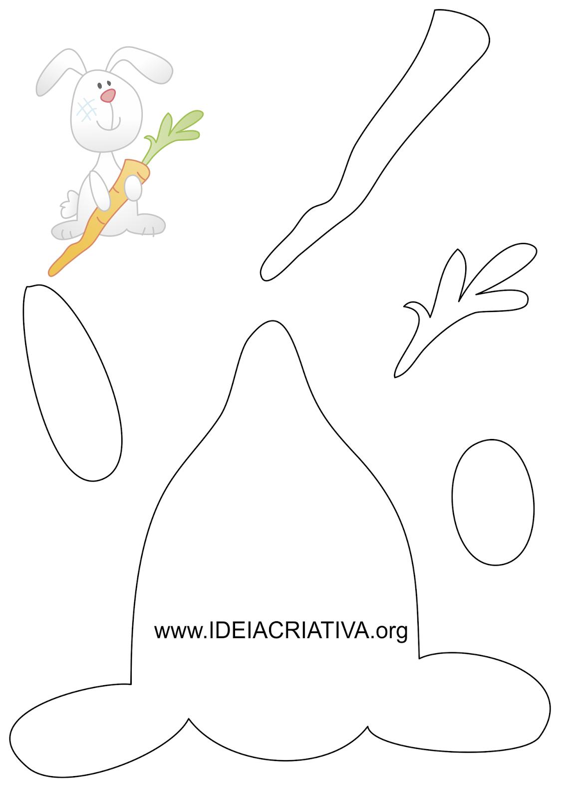 Molde Coelhinho com cenoura Páscoa