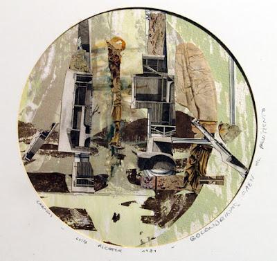 Luisa Richter Golodrinas caen al pavimento. 1981. Collage sobre papel (Contiene diapositivas de Petre Maxim-1987) 22,5 x 22,5cm