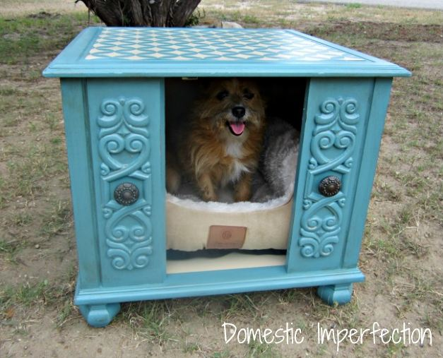 WinnerDogFinds: Upcycled Ugly End Table transformed into Cute Dog House