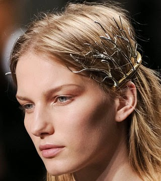 Balenciaga gold metal halo headband trend 2014