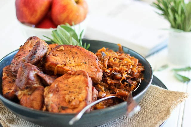 Pork Chops with Braised Bacon and Apple Cabbage