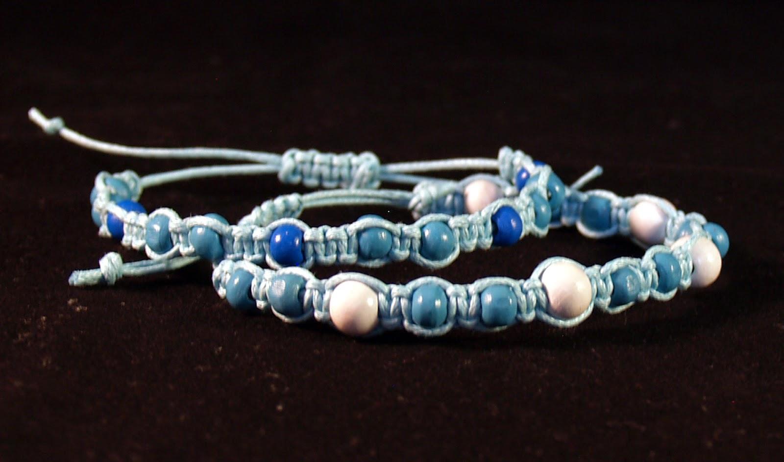 macrame bracelets blue