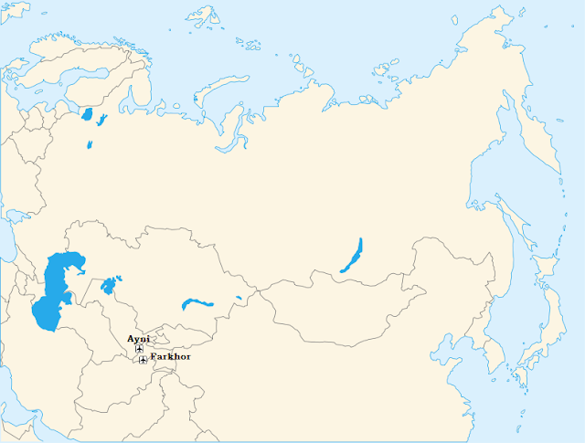 Farkhor and Ayni air base map