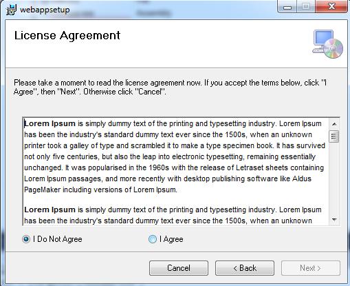 License Agreement option in desktop application