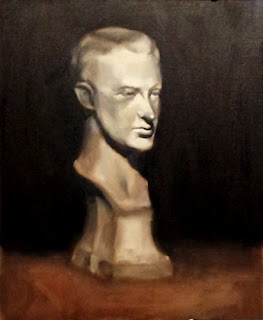 Oil painting of a plaster cast of a young man's head and neck on a plinth.