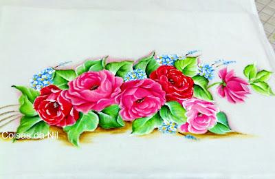 pano de copa com pintura de rosas