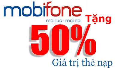 Mobifone khuyến mãi 50% giá trị thẻ nạp ngày 03/06