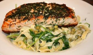 recepten; recept; hoofdgerecht; hoofdgerechten; pasta; vis; zalm; rucola;