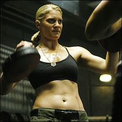 Katee Sackhoff as starbuck boxing