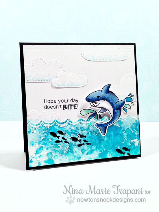 Shark card by Nina-Marie Trapani | Shark Bites Stamp set by Newtons Nook Designs
