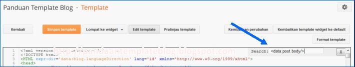 Mencari Kode Template di Menu Edit HTML Baru
